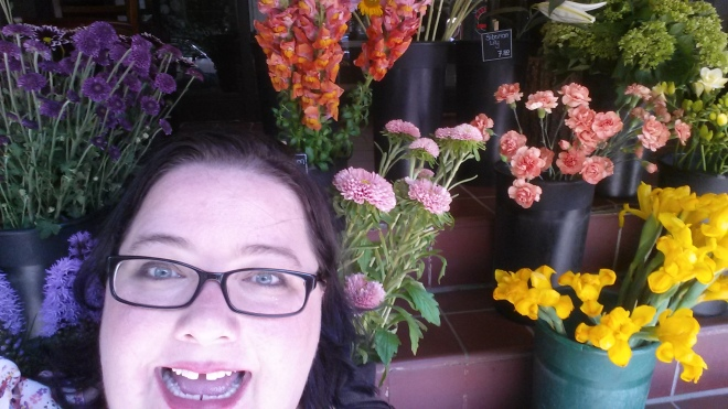 Trying to cheer myself up by getting silly in the flowers.