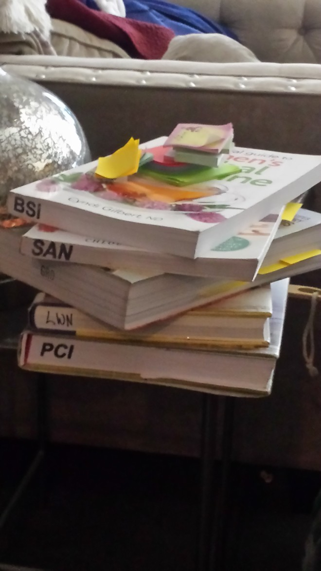 These are all the books I've been reading. I apologize for the blurry pictures in this post. Perhaps I was bliss-ed out.