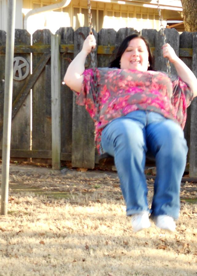 This is a day I was super happy. Swinging with my nephew. (Had to cut him out of the pic, that's an internet no no.) I am almost this happy today.